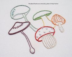 Woodland Mushrooms  A clump of colourful mushrooms growing in a woodland forest.  This design would work well incorporated into kitchen décor or to add a splash of colour to a kid's bedroom.  The design measures 4½ x 4½ inches (12 x 12cm).  Need help with a stitch? Try my Stitch Directory on www.kellyfletcher.blogspot.com or my Stitches board on www.pinterest.com/kellylfletcher/stitches.  This is a five-page digital pattern in PDF format.  The pattern includes: Needle and thread…