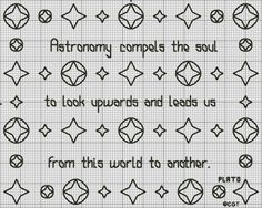 Free Astronomy Saying and Samplers Cross Stitch Charts - Free Printable Charts: Free Astronomy Saying Chart - Free Printable Astronomy Saying Chart
