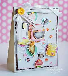 Sweet bakery card uses adhesive from Scrapbook Adhesives by 3L Lawn Fawn stamp set and Spectrum Noir Aqua Markers