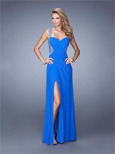 A-line Sweetheart Ruched Bodice Beaded Straps Chiffon Prom Dress PD12027
