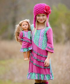 Another great find on #zulily! Pink & Green Ruffle Emma Dress & Doll Outfit #zulilyfinds