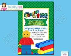 LEGO Birthday Invitations (440) | lullabyloo - Cards on ArtFire #LEGO birthday invitations #LEGO birthday party #LEGO #birthday party invitations #birthday invitations #LEGO birthday invitations Lego Birthday Invitations, Party Invitations Kids, 8th Birthday, Birthday Parties, Party Party, Party Planning, Rsvp, First Birthdays, Building
