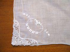 White Lace Handkerchief, Vintage Collectible, Vintage Hankie, Hanky, Bride…