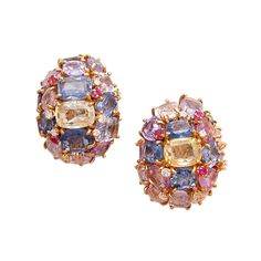 Lovely Pastel Colored Sapphire Earclips