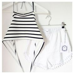 Hypoxicandlost Handmade Monaco Festival Set Nautical White Blue... ($62) ❤ liked on Polyvore featuring shorts, silver, women's clothing, summer shorts, checkered shorts, high-waisted shorts, blue striped shorts and high waisted short shorts