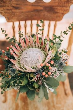 8 Insane Tips Can Change Your Life: Wedding Flowers Peonies Simple wedding flowers red event planning.Wedding Flowers Colorful Sunflowers country wedding flowers tin cans. Flor Protea, Protea Bouquet, Thistle Bouquet, Protea Flower, Protea Wedding, Rose Wedding Bouquet, Floral Wedding, Unique Weddings, Tropical Flowers