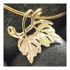 Black Hills Gold Jewelry Landstrom's Black Hills Gold Leaf Pendant on Slide Snake Chain - Jewelry Shop, Fine Jewelry, Women Jewelry, Jewelry Ideas, Jewelry Design, Gold Chain With Pendant, Leaf Pendant, Black Hills Gold Jewelry, Gold Chains For Men