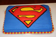 Would love to get this for TyTy! Happy 7th Birthday, Boy Birthday, Birthday Parties, Birthday Ideas, Theme Parties, Pastel Rectangular, Superman Cakes, Superman Logo, Batman