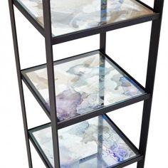 "ABC Co-create Oshun Narrow Glass Bookshelf  • 18""w x 18""d x 72""h • Watercolor painted recycled glass; handcrafted raw steel"