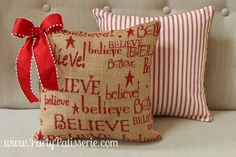 Inspirationals Christmas Pillow Believe (could prepare a word document with wording and various fronts and print on fabric sheets or make a table runner with wording)