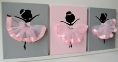 Ballerina nursery wall art.  Pink and grey ballerina decor. by FlorasShop on Etsy https://www.etsy.com/listing/243225753/ballerina-nursery-wall-art-pink-and-grey