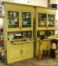 Pair of vintage kitchen cabinets from a 1910 dallas home 92 quot high x 50