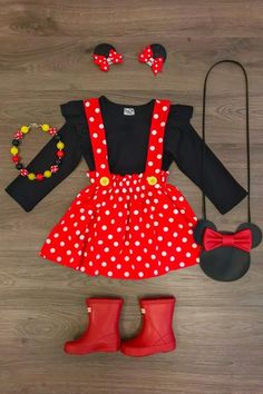 Red Polka Dot Minnie Suspender Skirt Set - Sparkle In Pink Little Girl Outfits, Little Girl Fashion, Toddler Girl Outfits, Toddler Fashion, Kids Outfits, Kids Fashion, Cute Outfits, Fashion Clothes, School Outfits