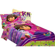 Dora the Explorer Star 5pc Full Comforter and Sheet Set Bedding Collection, Purple, http://www.amazon.com/dp/B00HMGBP8Q/ref=cm_sw_r_pi_awdm_8WO-tb07C9R80