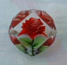 Reverse Carved Red Rose Lucite Brooch Pin Floral Vintage Jewelry