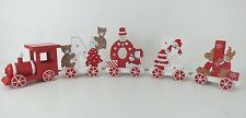 Wooden Noel Red & White Decorative Train Set Ornament Snowman Santa Xmas Tree