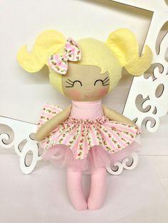 Handmade Dolls Fabric Dolls Soft Doll Cloth by SewManyPretties, $45.00