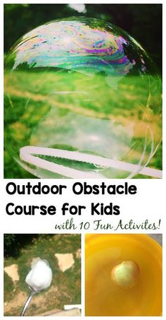 Outdoor Obstacle Course for Kids: Fun summer activity for kids of all ages with 10 hands-on activities that encourage letter learning, active play, gross motor skills and more! ~ Messes and Memories for Buggy and Buddy