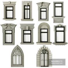 House Window Design, House Outside Design, House Front Design, Door Design, Facade Design, Classic House Exterior, Classic House Design, Dream House Exterior, Villa Design