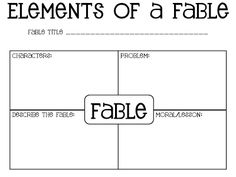 Fable Graphic Organizer Freebie