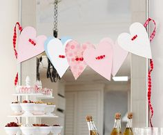 Paper Heart Garland - love that the ribbon goes through the middle!