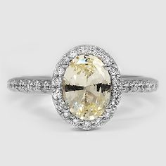 18K White Gold Sapphire Fancy Halo Diamond Ring // Set with a 8x6mm Yellow Oval Sapphire