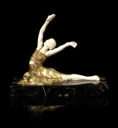 Samuel Lipchytz An Art Deco Gilt Bronze and Carved Ivory Figure of a Tamborine Dancer, circa 1925