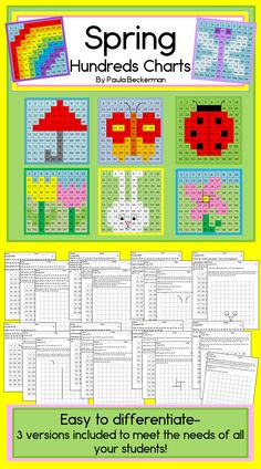 Spring themed hundreds charts with addition and subtraction - easy to differentiate, and NO PREPARATION required, just print and go! TpT$