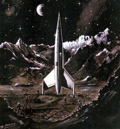 """Destination Moon"" rare art, 1950 (image credit: Erik Theodor Lässigc #art"