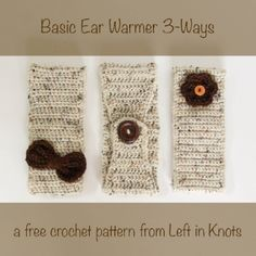 This FREE crochet pattern is great for teaching, learning, gifting, and selling!  Make a basic crochet ear warmer three different ways with two embellishment options.  #crochet #freepattern #learntocrochet #earwarmer #headband #fallfashion #crochetpattern #freecrochetpattern #crochetgift