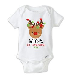 Personalized Christmas Baby Onesie, Christmas Bodysuit, Custom Onesie