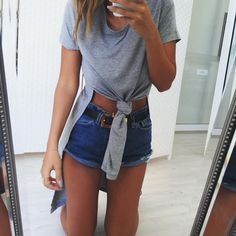 Grey Tie Tee perfection! By #SaboSkirt https://saboskirt.com/shop/product/grey-tie-tee
