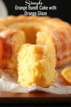 This Simple Orange Bundt Cake with Orange Glaze is a delicious easy cake that requires no mixer. It's full of yummy citrus flavor and goes perfectly with tea or Orange Bunt Cake, Orange Cakes, Orange Juice Cake, Citrus Cake, Recipe For Orange Marmalade Cake, Easy Cake Recipes, Baking Recipes, Dessert Recipes, Orange Dessert