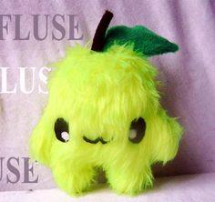 Kleine Zitronen-Fluse aus hochwertigem farbechtem Kuschel -Plüsch,Fell-Imitat in Gelb(Augen sind aus Filz)  ! Einzelstück!Unikat! Nach eigener Vorl...