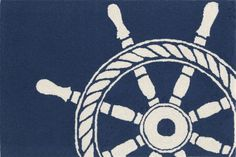 Ship Wheel Navy Rug in Different Sizes...