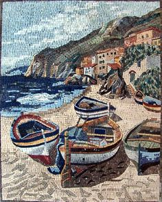 Boats Stone Art Mosaic Mural