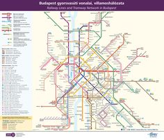 Official Map: Rail and Tram Network, Budapest, Hungary (2012)