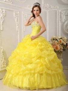 Handmade And Beaded Yellow Quinceanera Dress With Ruffles - $206.45