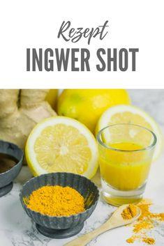 Dieses Ingwer Shot Rezept ist ganz einfach ohne Entsafter zubereitet.