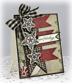 Love the layout and the snowflakes can be changed out of another shape for any occasion  Stamps: Glad Tidings (Verve Stamps)  Paper: 25 Days of Christmas (Simple Stories), Black, Cream  Ink: Black Soot, Old Paper (SU!)  Accessories: Snowflake Tidings Die Set (A Cut Above by VERVE), gingham ribbon (May Arts), red rhinestones, shiny gold pearls (Pizzazz Aplenty)