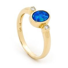 regular ring size US 7 (UK N1/2), 1 stone 7mm x 5mm Oval An exceptional 14k Yellow Gold Light Opal Doublet Ring, a beautiful example of designer opal jewellery. #opals #opalsau #opalsaustralia