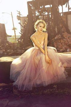 blushing in pink tulle wedding dress
