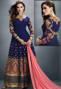 2b6c7ed67a Royal Blue Georgette Anarkali Suit with Churidar Kameez   Dupatta