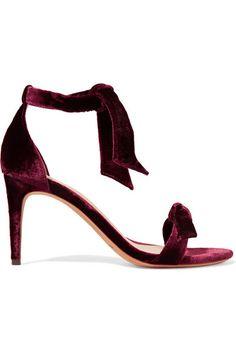 Alexandre Birman | Clarita bow-embellished velvet sandals | NET-A-PORTER.COM