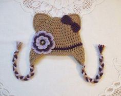 Warm Brown and and Purple Kitty Cat with Flower Crochet Hat - Photo Prop - Available in Any Size or Color Combination