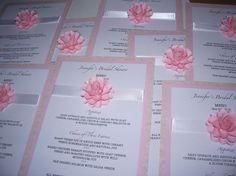 Bridal Shower Menu Cards Embellished with paper flowers designed by  DragonflyExpression