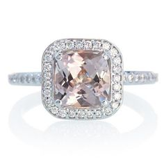 Custom 14K Cushion Cut Diamond Halo Alternative Bridal by SAMnSUE, $950.00