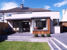Garden Steps from Patio: Refurbishment and extension at ground floor to an existing semi detached house. House Extension Design, Roof Extension, House Design, Extension Ideas, Houses In Ireland, Ireland Homes, Patio Steps, Garden Steps, Garden Front Of House