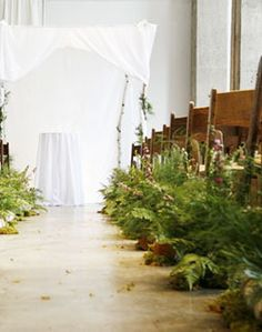 Green Fern Aisle Decor - bringing the forest indoors - I love this idea!!! Especially since we originally wanted and outdoor wedding. :)