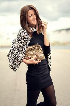 Black Rauched Dress & Animal Print Jacket with Sequin Clutch Fashion ... Beautiful